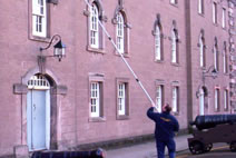 Cleaning the windows at the Barracks in Berwick upon Tweed